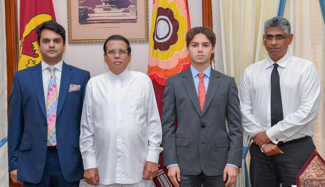 David Linsey with the President of Sri Lanka